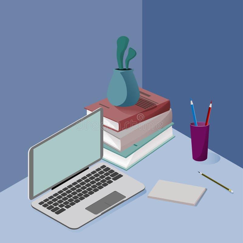 在颜色的三维等量图片,关于学校,事务,科学,训练 描述一台膝上型计算机 库存例证