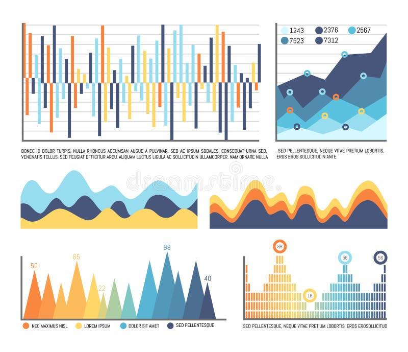 在颜色的事务Infographics和流程图 向量例证