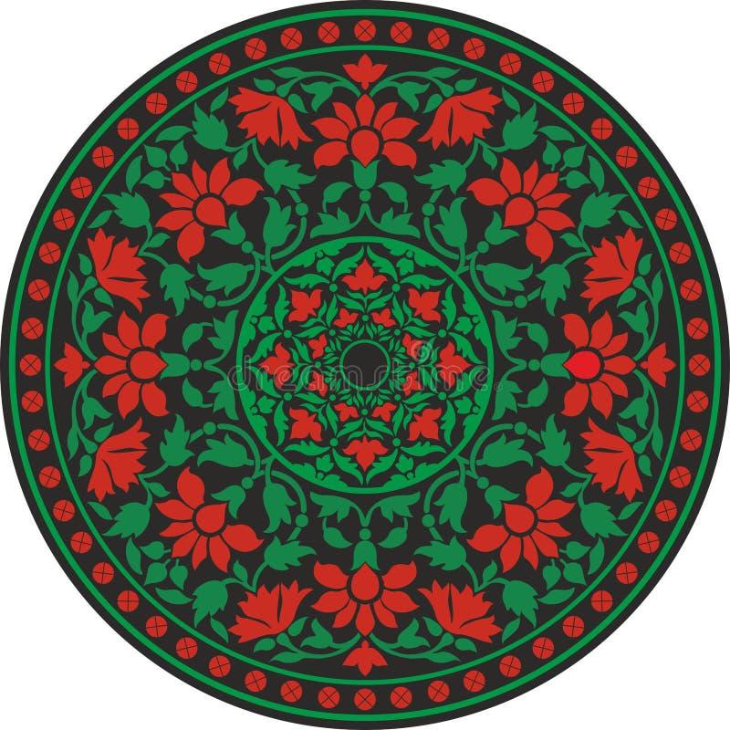 在颜色的印地安传统样式-开花坛场 向量例证