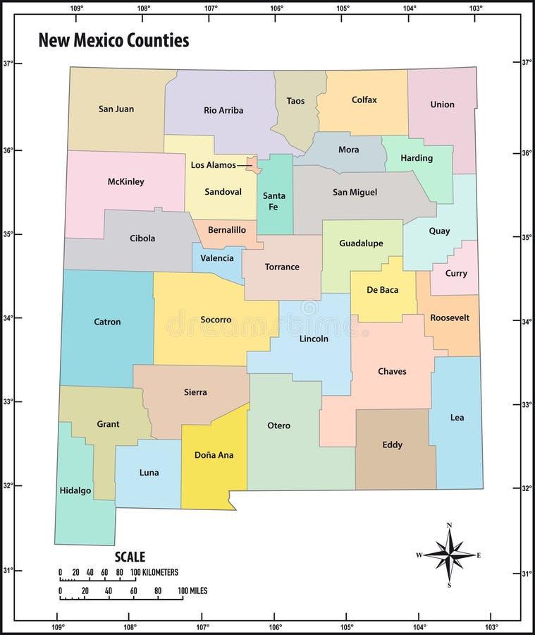 在颜色的新墨西哥州概述行政和政治传染媒介地图 向量例证