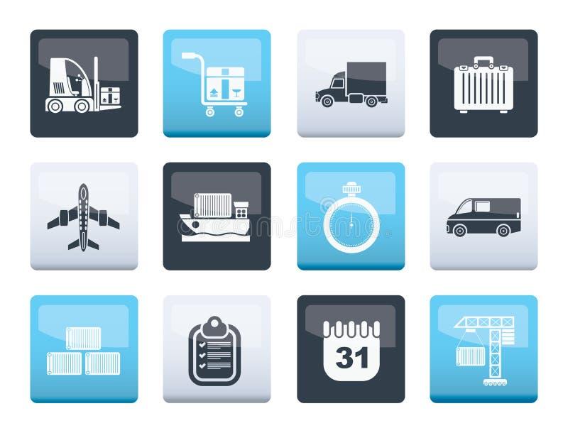 在颜色背景的后勤学、运输和运输象 库存例证