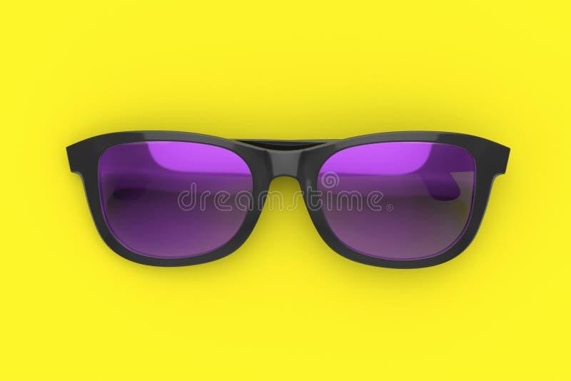 在颜色背景的太阳镜 图库摄影