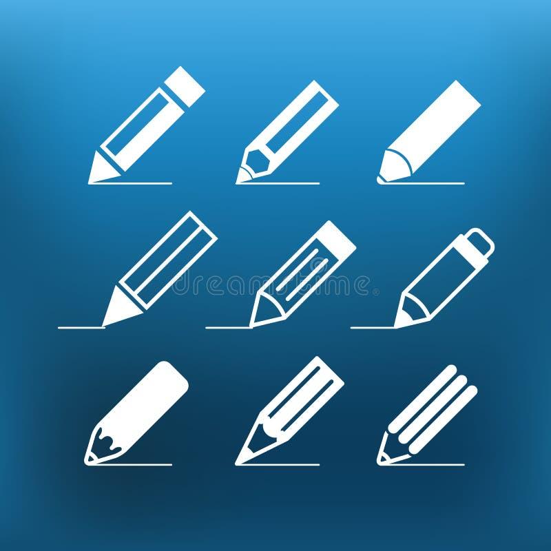在颜色背景的白色铅笔象夹子艺术 库存例证