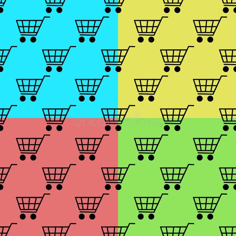 在颜色背景隔绝的购物车无缝的样式集合 平的设计例证 库存例证