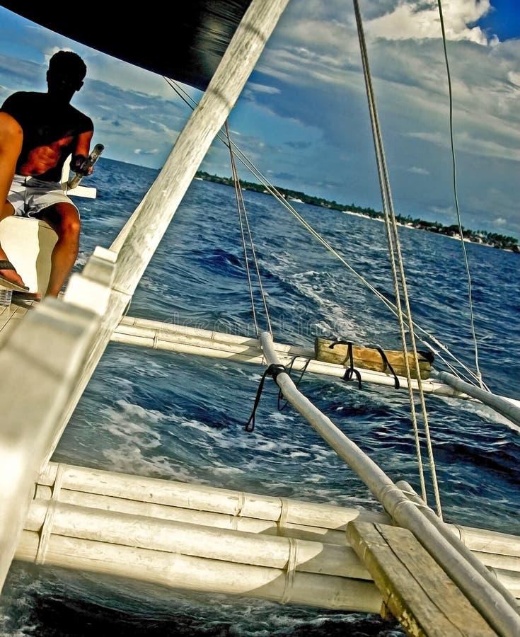 在风帆,宿务,菲律宾下的舷外架 库存图片