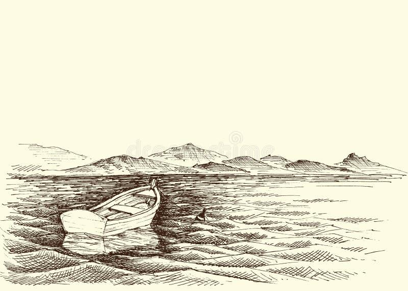 在风平浪静水的空的小船 库存例证