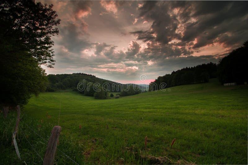 在风景德国的太阳 免版税图库摄影