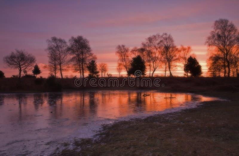 在风景日出的湖 免版税库存照片
