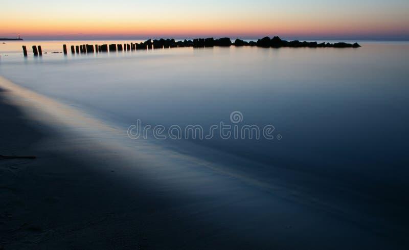 在风景日落的海洋 免版税库存图片