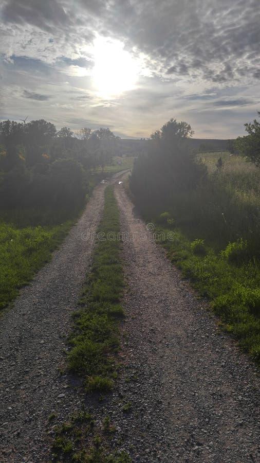 在风景的日落 免版税库存照片