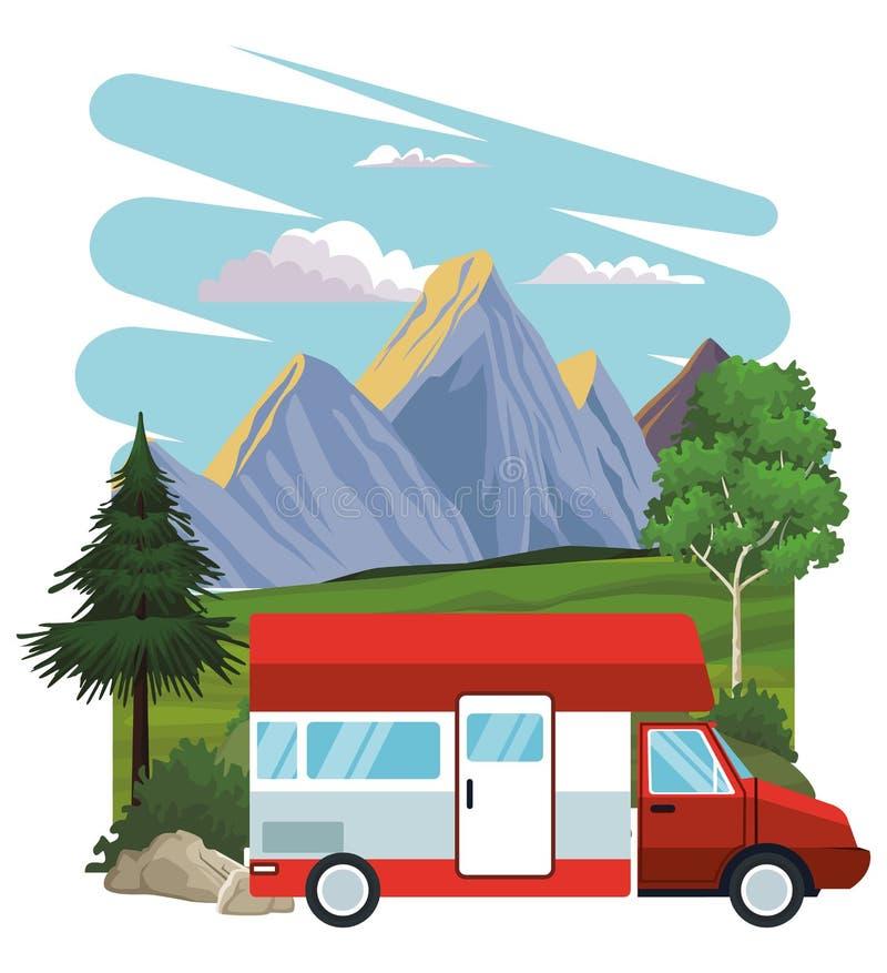 在风景的有蓬卡车 向量例证