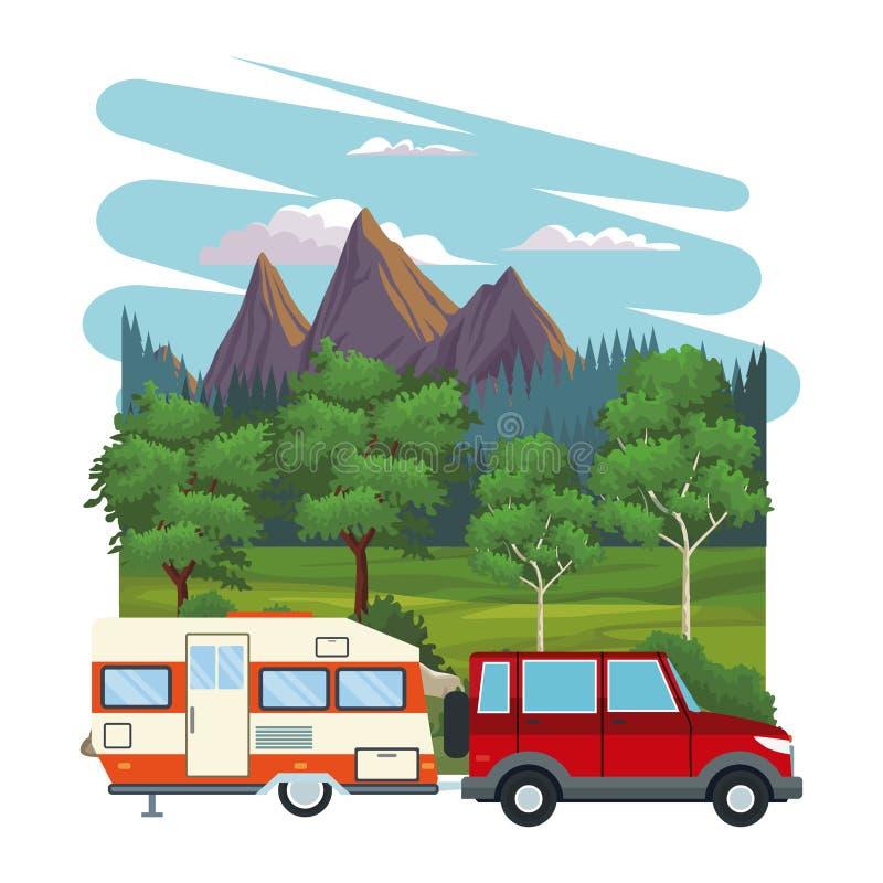 在风景的有蓬卡车 库存例证