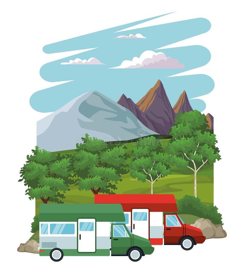 在风景的有蓬卡车 皇族释放例证