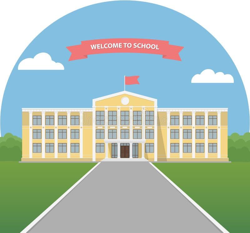 在风景的黄色教学楼 学校图书馆 大学或学院大厦 回到学校的横幅邀请 库存例证