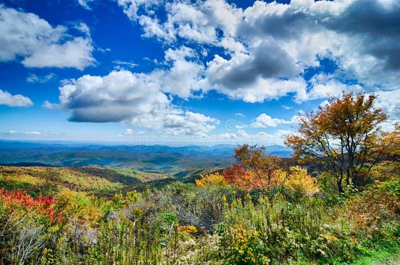 在风景蓝岭山行车通道阿巴拉契亚人发烟性登上的春天 免版税库存照片