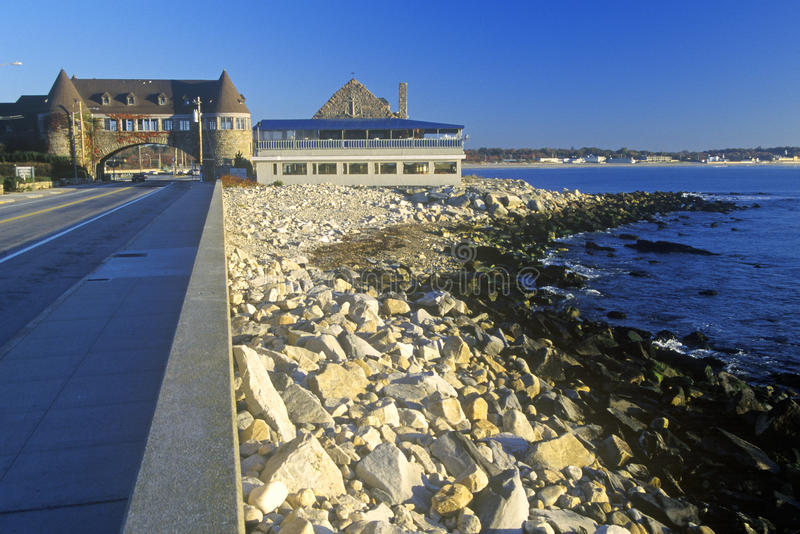 在风景路线1S, RI的Narragansett码头 库存照片