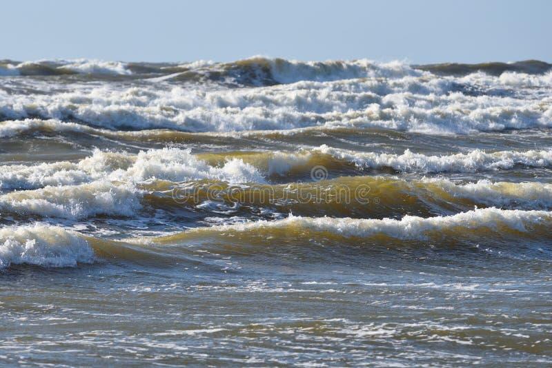 在风暴期间的波罗的海海岸 免版税库存图片