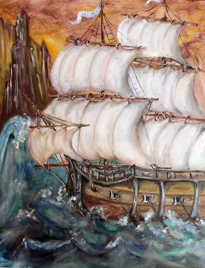 在风暴艺术油画的Sailship 免版税图库摄影