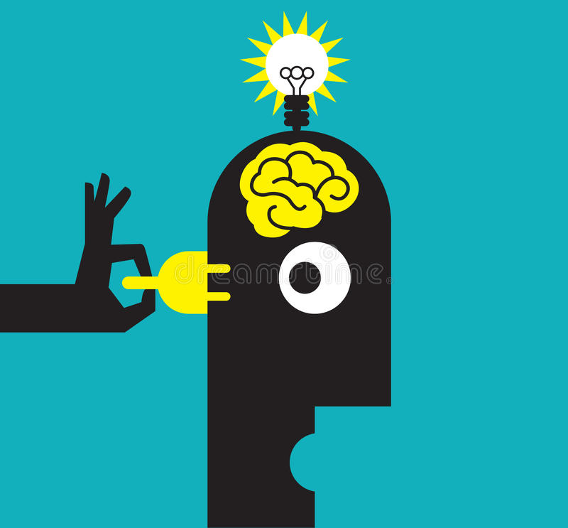 在风格化人头的想法电灯泡 向量例证