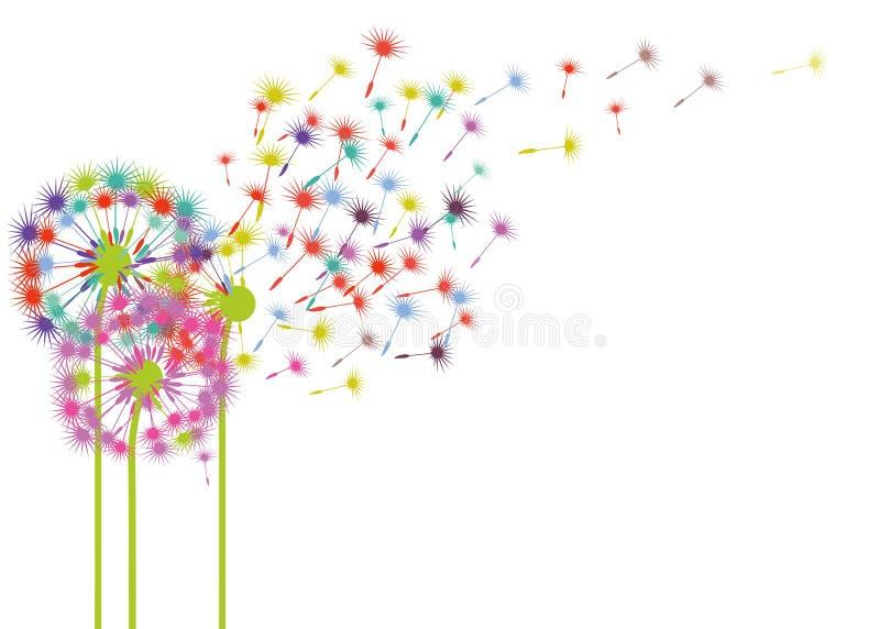 在风的五颜六色的蒲公英 库存例证
