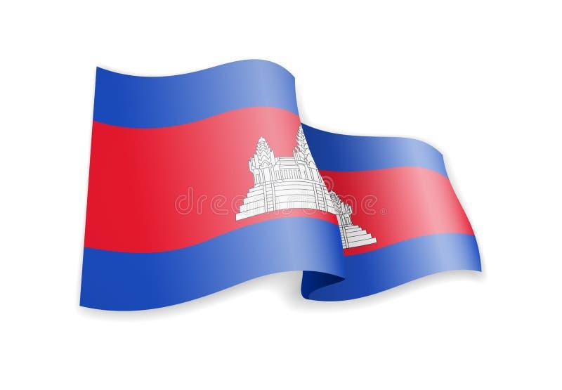 在风的柬埔寨旗子 E 库存例证