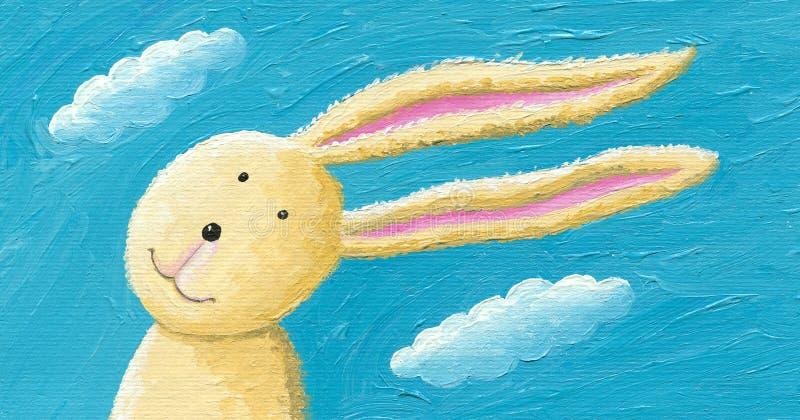 在风的逗人喜爱的兔子 向量例证