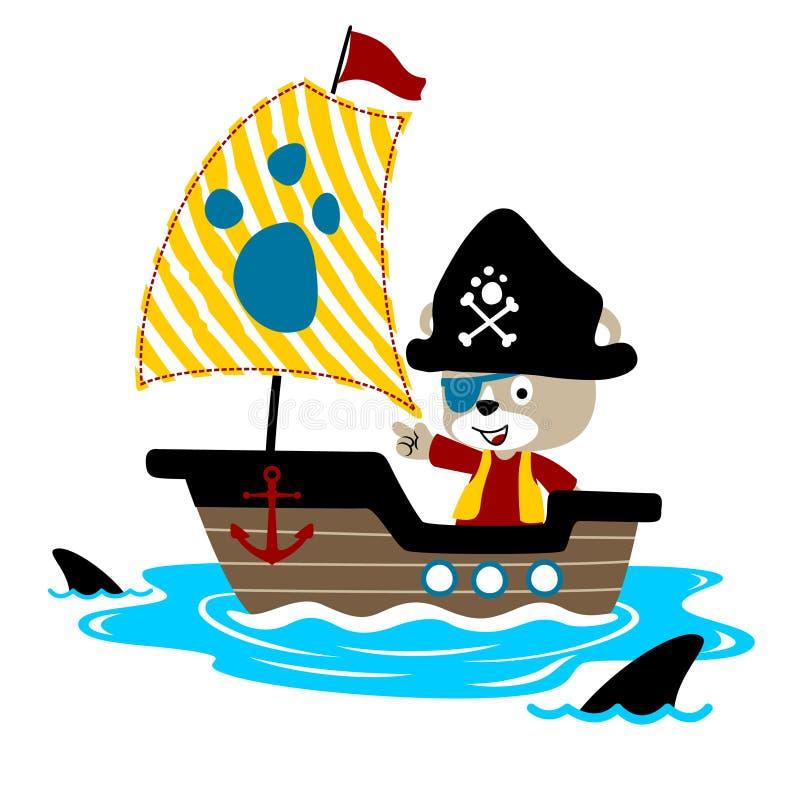 在风船的滑稽的海盗动画片有鲨鱼的 皇族释放例证