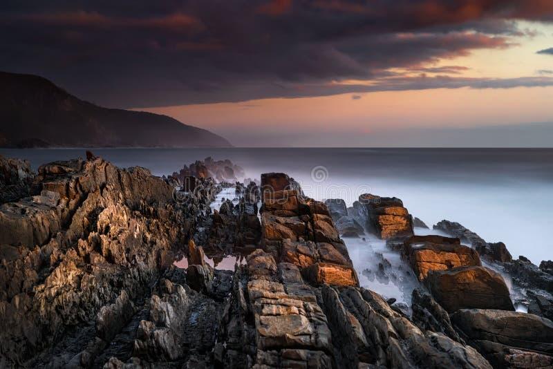在风暴` s河,南非的接合的海岸 库存照片