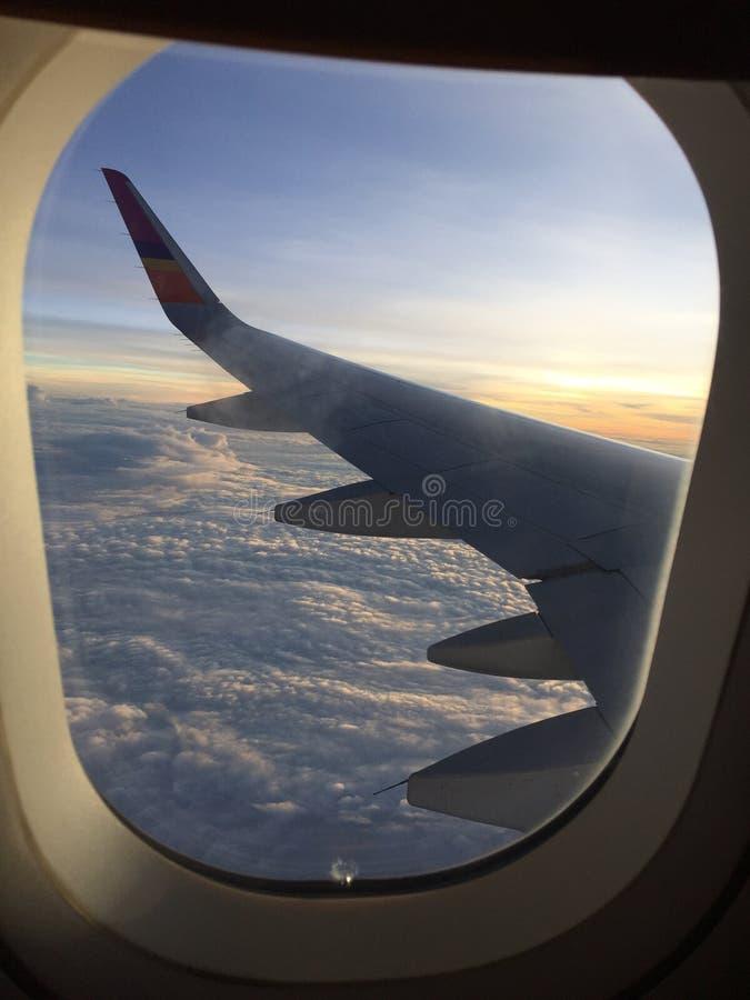 在飞机上的天空 库存照片
