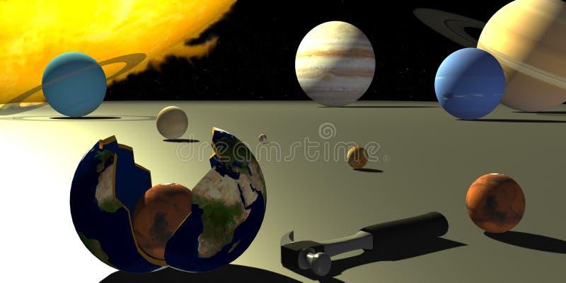 在飞机上的太阳系 免版税库存图片
