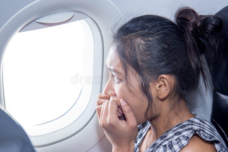 在飞机上的恐惧 图库摄影