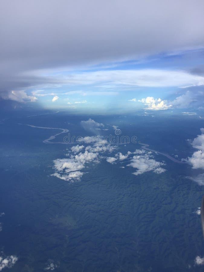 在飞机上 库存图片