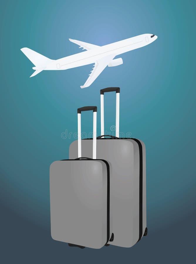 在飞机前面的两个手提箱 向量例证