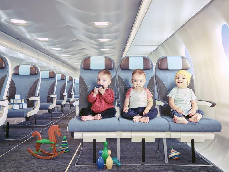 在飞机的三胞胎 库存例证