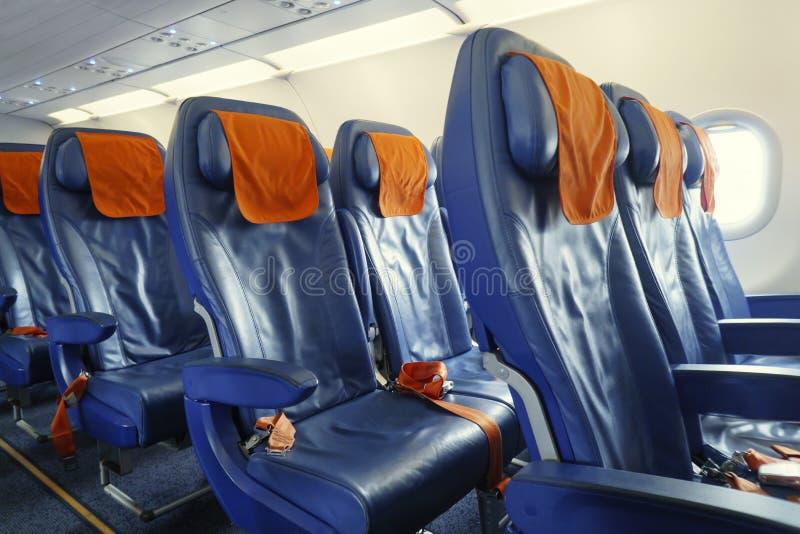 在飞机的椅子 免版税库存照片