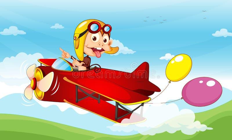 在飞机的猴子 皇族释放例证