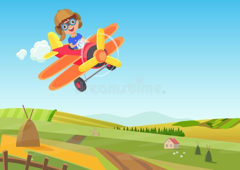 在飞机的逗人喜爱的小男孩飞行在领域上 滑稽的飞行飞机动画片传染媒介例证 皇族释放例证
