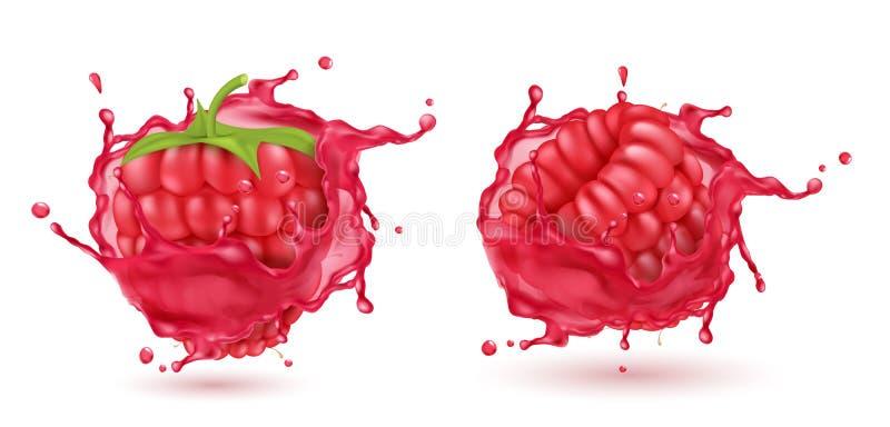 在飞溅汁液的传染媒介3d现实莓 皇族释放例证