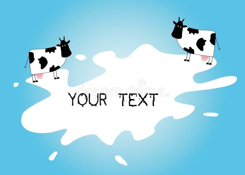 在飞溅的牛奶的通道地址字 库存例证