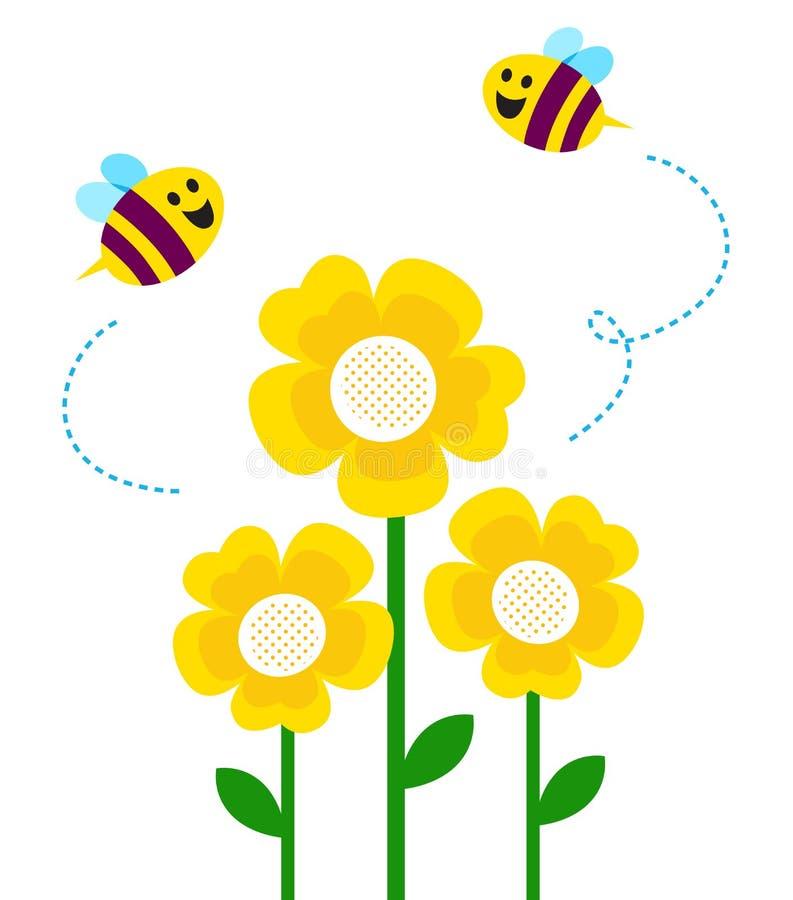 在飞行一点的蜂逗人喜爱的花附近 皇族释放例证