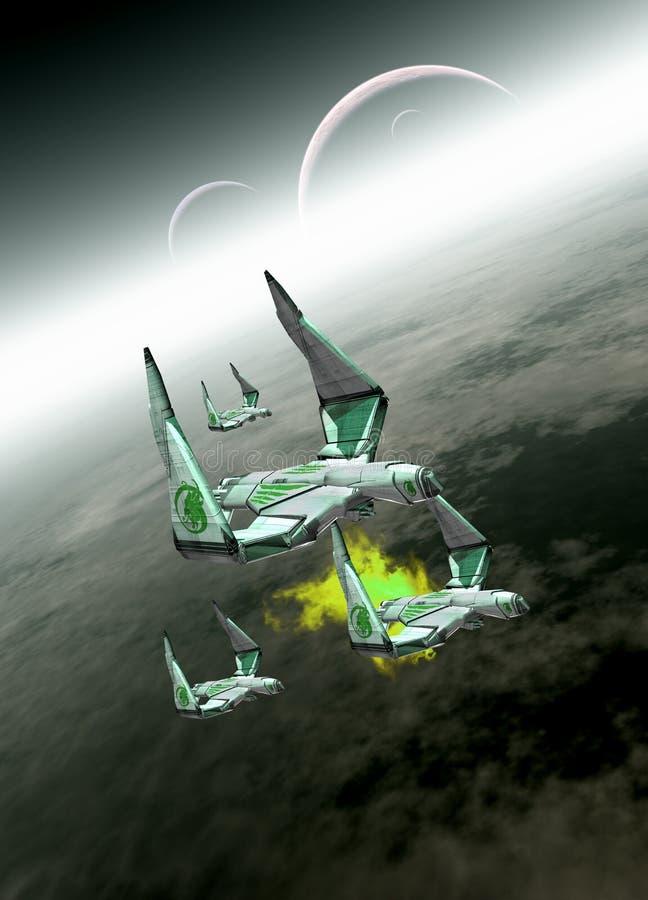 在飞行中四艘太空飞船 向量例证