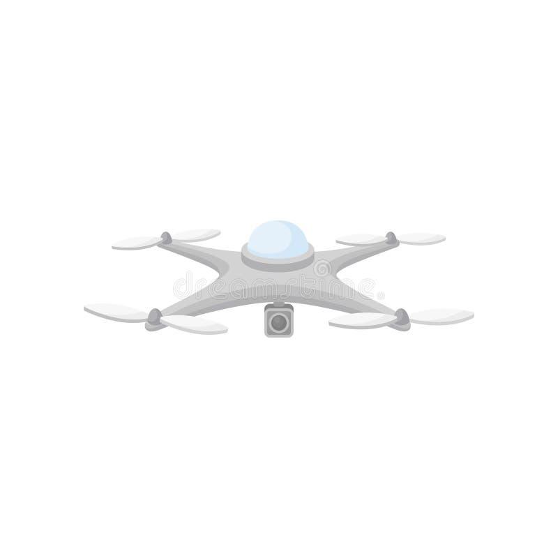 在飞行中寄生虫平的传染媒介象  与照相机和4个动叶片的Quadcopter 空中无人通信工具 现代 皇族释放例证