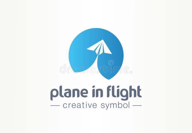 在飞行中平面创造性的标志概念 纸空气消息摘要商务旅游商标 送直接电子邮件信 向量例证