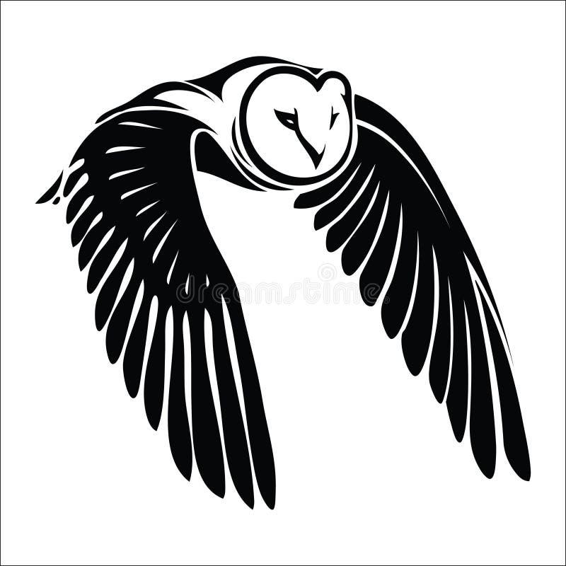 在飞行中查出的猫头鹰 向量例证