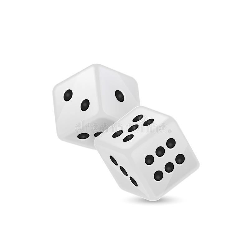 在飞行中白色现实比赛模子象特写镜头的传染媒介例证在白色背景的 赌博的赌博娱乐场 库存例证