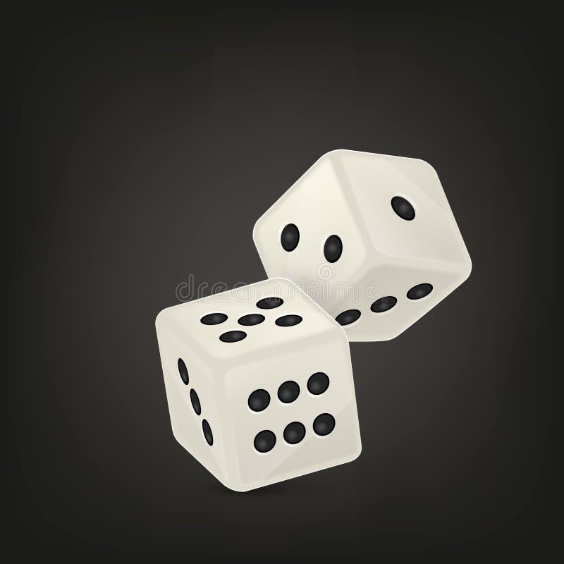 在飞行中白色现实比赛模子象特写镜头的传染媒介例证在黑背景的 赌博娱乐场赌博的设计 皇族释放例证