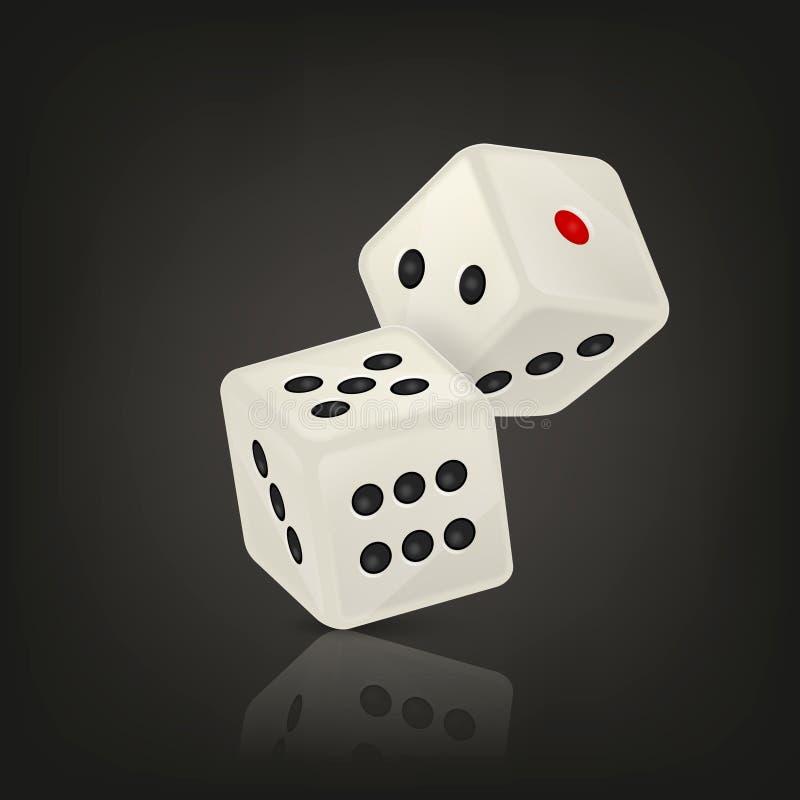 在飞行中白色现实比赛模子象特写镜头的传染媒介例证在黑背景的 赌博娱乐场赌博的设计 向量例证