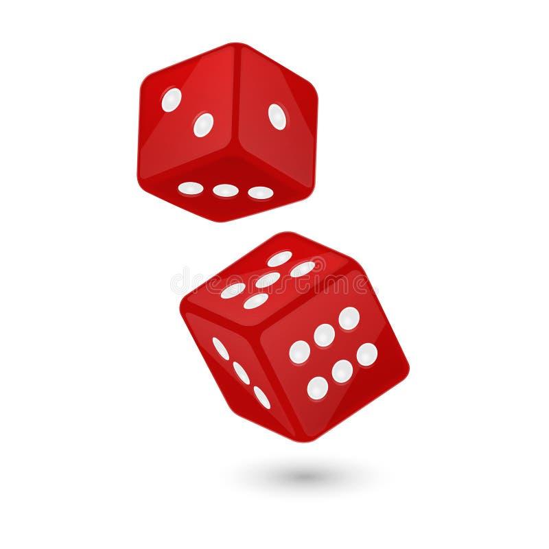 在飞行中红色现实比赛模子象特写镜头的传染媒介例证在白色背景的 赌博的赌博娱乐场 库存例证