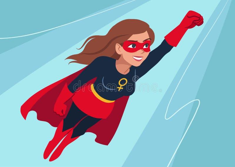 在飞行中超级英雄妇女 有吸引力的年轻白种人女服 库存例证