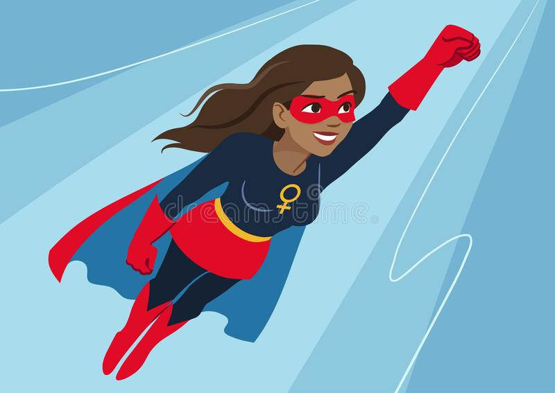 在飞行中超级英雄妇女 有吸引力的年轻非裔美国人的wom 向量例证